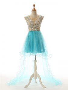 On Sale High Low Backless Evening Dress Aqua Blue for Prom and Party and Sweet 16 with Beading and Lace and Appliques