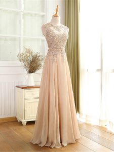 Floor Length Zipper Prom Dress Champagne for Prom and Military Ball with Beading and Appliques
