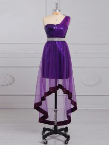 Dynamic Purple Empire One Shoulder Sleeveless Tulle and Sequined Zipper Beading Prom Gown