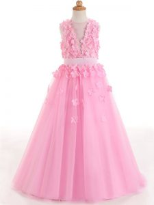 Fashionable Rose Pink Kids Pageant Dress Wedding Party with Appliques and Bowknot Scoop Sleeveless Zipper