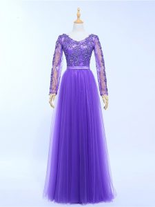 Lace and Appliques Evening Party Dresses Lavender Lace Up Long Sleeves Floor Length