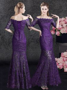 Mermaid Eggplant Purple Off The Shoulder Lace Up Lace Prom Gown Half Sleeves