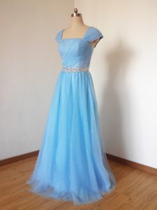 Custom Fit Baby Blue Cap Sleeves Tulle Zipper Dama Dress for Quinceanera for Prom and Party and Wedding Party