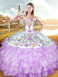 Lilac Ball Gowns Embroidery and Ruffled Layers Quinceanera Gown Lace Up Organza and Taffeta Sleeveless Floor Length