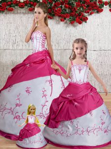 Smart Ball Gowns Sweet 16 Dresses White Strapless Taffeta Sleeveless Floor Length Lace Up