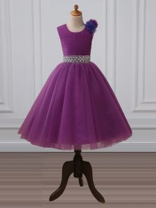 Purple Kids Formal Wear Wedding Party with Beading and Hand Made Flower Scoop Sleeveless Zipper