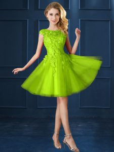 Sumptuous Knee Length Lace Up Dama Dress Yellow Green for Prom and Party with Lace and Appliques