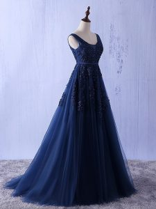Adorable Navy Blue A-line Appliques Prom Party Dress Lace Up Tulle Sleeveless Floor Length