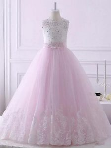 Scalloped Sleeveless Kids Formal Wear Brush Train Lace Baby Pink Tulle