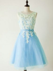 Light Blue Quinceanera Dama Dress Prom and Party and Wedding Party with Lace Scoop Sleeveless Lace Up
