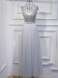 Clearance Grey Sleeveless Beading and Sequins Floor Length Prom Evening Gown