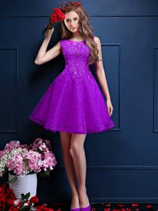 On Sale Knee Length Lace Up Quinceanera Court Dresses Eggplant Purple for Prom and Party with Beading and Lace