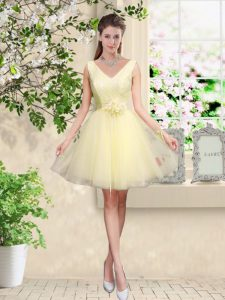 Knee Length Light Yellow Dama Dress Tulle Sleeveless Lace and Belt