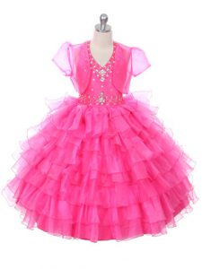 Hot Pink Lace Up Halter Top Beading and Ruffled Layers Kids Pageant Dress Organza Sleeveless