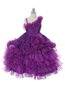 Gorgeous Floor Length Ball Gowns Sleeveless Purple Pageant Gowns For Girls Lace Up