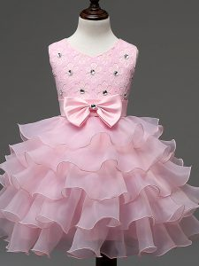 Fashionable Scoop Sleeveless Pageant Dress Wholesale Knee Length Lace and Ruffled Layers and Bowknot Baby Pink Organza