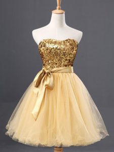 A-line Homecoming Dress Gold Sweetheart Tulle Sleeveless Mini Length Zipper