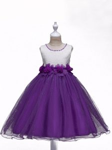 Nice Sleeveless Organza Knee Length Zipper High School Pageant Dress in Purple with Lace and Hand Made Flower