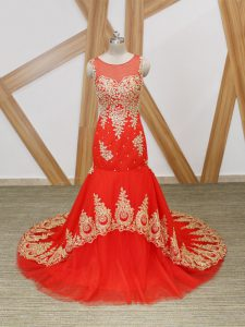 Coral Red Mermaid Tulle Scoop Sleeveless Beading and Lace and Appliques Zipper Prom Evening Gown Brush Train