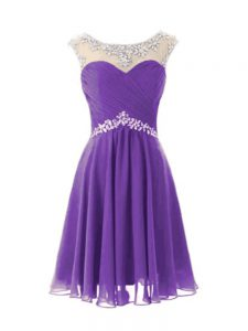 Eggplant Purple A-line Chiffon Scoop Cap Sleeves Beading Knee Length Zipper