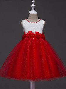 Trendy Wine Red Ball Gowns Scoop Sleeveless Tulle Knee Length Zipper Lace and Hand Made Flower Kids Pageant Dress