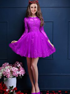 Sexy 3 4 Length Sleeve Chiffon Mini Length Lace Up Quinceanera Court Dresses in Eggplant Purple with Beading and Lace and Appliques