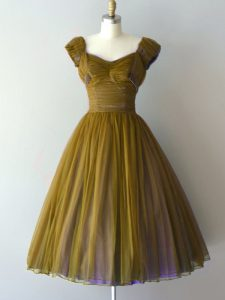 Smart Olive Green V-neck Lace Up Ruching Dama Dress for Quinceanera Cap Sleeves