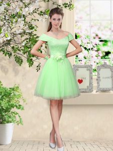 Glorious Apple Green Cap Sleeves Lace and Belt Knee Length Damas Dress