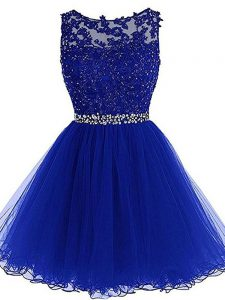 Luxury Royal Blue Zipper Beading and Lace and Appliques and Ruffles Sleeveless Mini Length