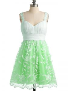 Unique Apple Green Empire Straps Sleeveless Lace Knee Length Lace Up Lace Quinceanera Court Dresses