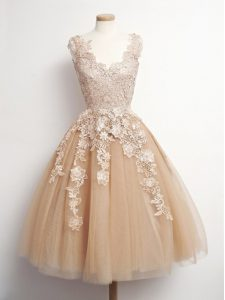 Great Brown V-neck Neckline Appliques Quinceanera Court Dresses Sleeveless Lace Up