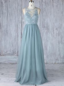 Perfect Sleeveless Tulle Floor Length Zipper Damas Dress in Grey with Appliques