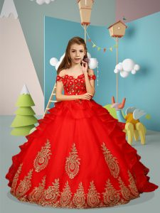 Appliques and Embroidery Little Girls Pageant Dress Wholesale Red Lace Up Sleeveless Floor Length