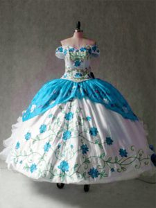 Cap Sleeves Organza and Taffeta Floor Length Lace Up Quinceanera Dress in Blue And White with Embroidery and Ruffles
