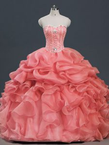 Watermelon Red Sleeveless Floor Length Beading and Ruffles and Pick Ups Lace Up 15th Birthday Dress