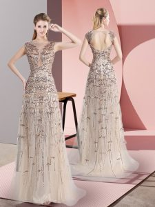 Smart Scoop Sleeveless Brush Train Zipper Evening Outfits Champagne Tulle