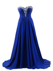 Elastic Woven Satin Sweetheart Sleeveless Brush Train Lace Up Beading Prom Dresses in Royal Blue