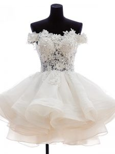 Strapless Sleeveless Zipper Homecoming Party Dress White Tulle
