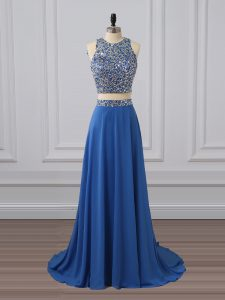 Colorful Sleeveless Zipper Floor Length Beading and Sequins Homecoming Dress