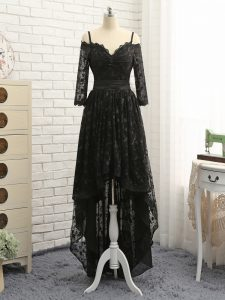 Half Sleeves Lace High Low Zipper Evening Dress in Black with Lace