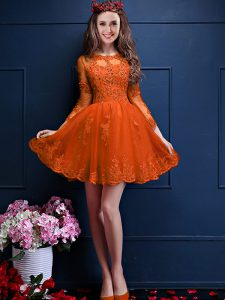 Superior Orange Red Vestidos de Damas Prom and Party with Beading and Lace and Appliques Scalloped 3 4 Length Sleeve Lace Up