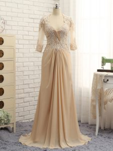 Champagne Long Sleeves Beading and Lace and Appliques Zipper Prom Dress