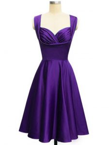 Designer Purple Lace Up Straps Ruching Court Dresses for Sweet 16 Taffeta Sleeveless