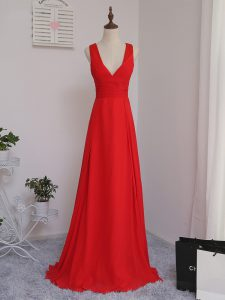 Red Sleeveless Chiffon Zipper Damas Dress for Prom and Party and Wedding Party