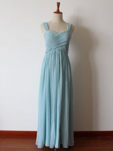 Dazzling Aqua Blue Chiffon Zipper Damas Dress Sleeveless Floor Length Ruching