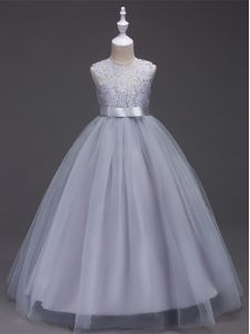 Grey A-line Scoop Sleeveless Tulle Floor Length Zipper Lace Custom Made Pageant Dress