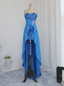 High Low Blue Prom Dresses Elastic Woven Satin Sleeveless Beading