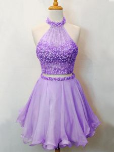 Lavender Two Pieces Halter Top Sleeveless Organza Knee Length Lace Up Beading Quinceanera Court of Honor Dress