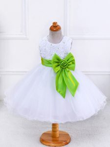 Scoop Sleeveless Little Girl Pageant Dress Knee Length Bowknot White Organza