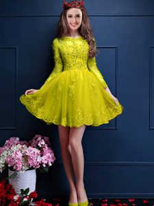 Custom Design A-line Damas Dress Yellow Scalloped Chiffon 3 4 Length Sleeve Mini Length Lace Up